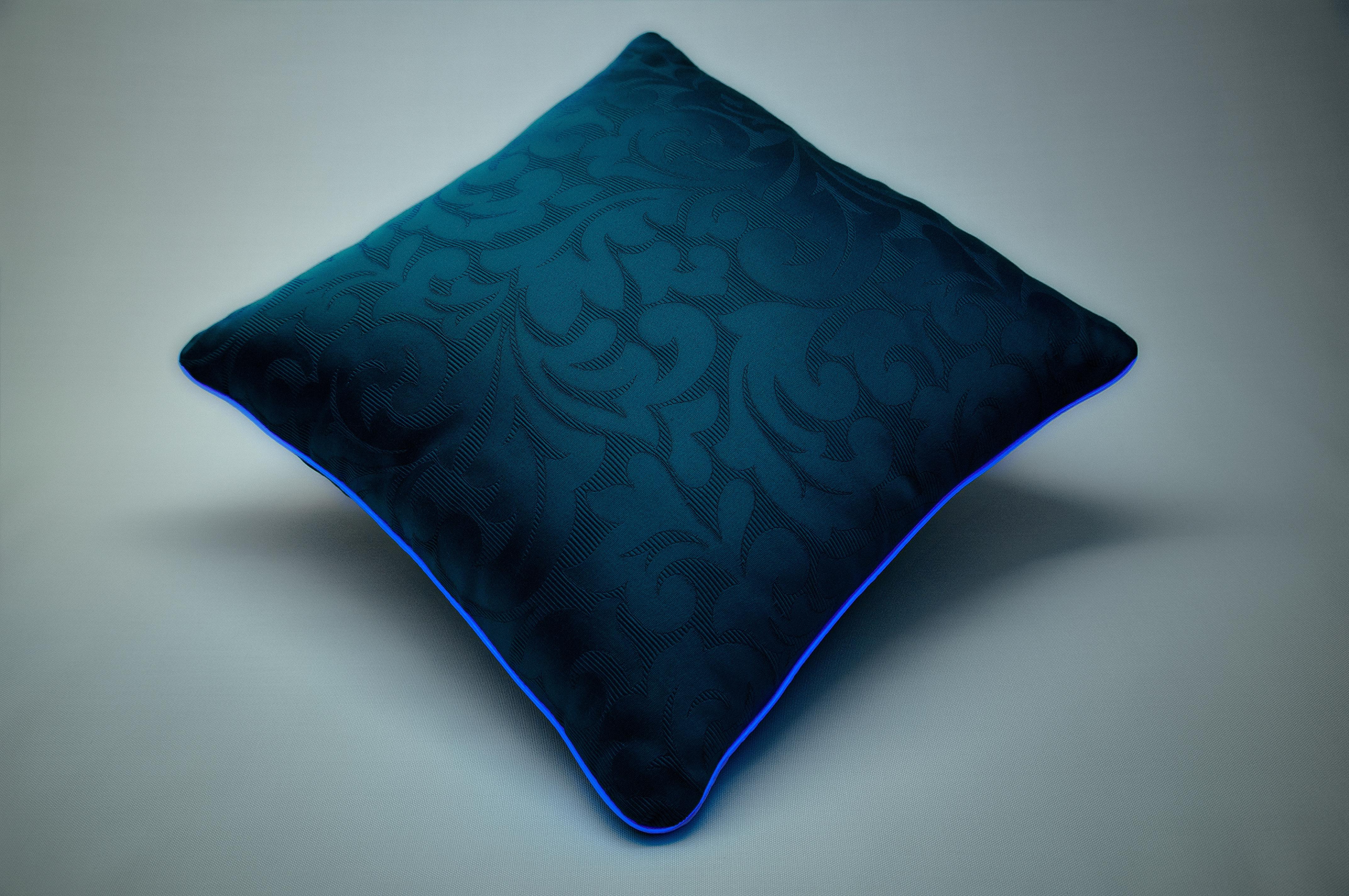 Cuscino luminoso Blue Jacquard